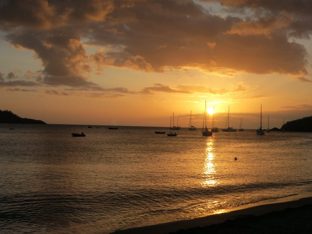 sillhouetted boats moored in Guadeloupe
