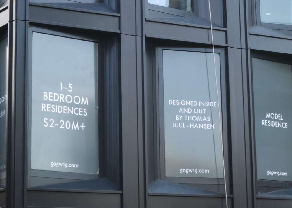"""seen from the High Line, a sign in a new apartment building reading """"1-5 bedroom residences $2-20M+"""""""