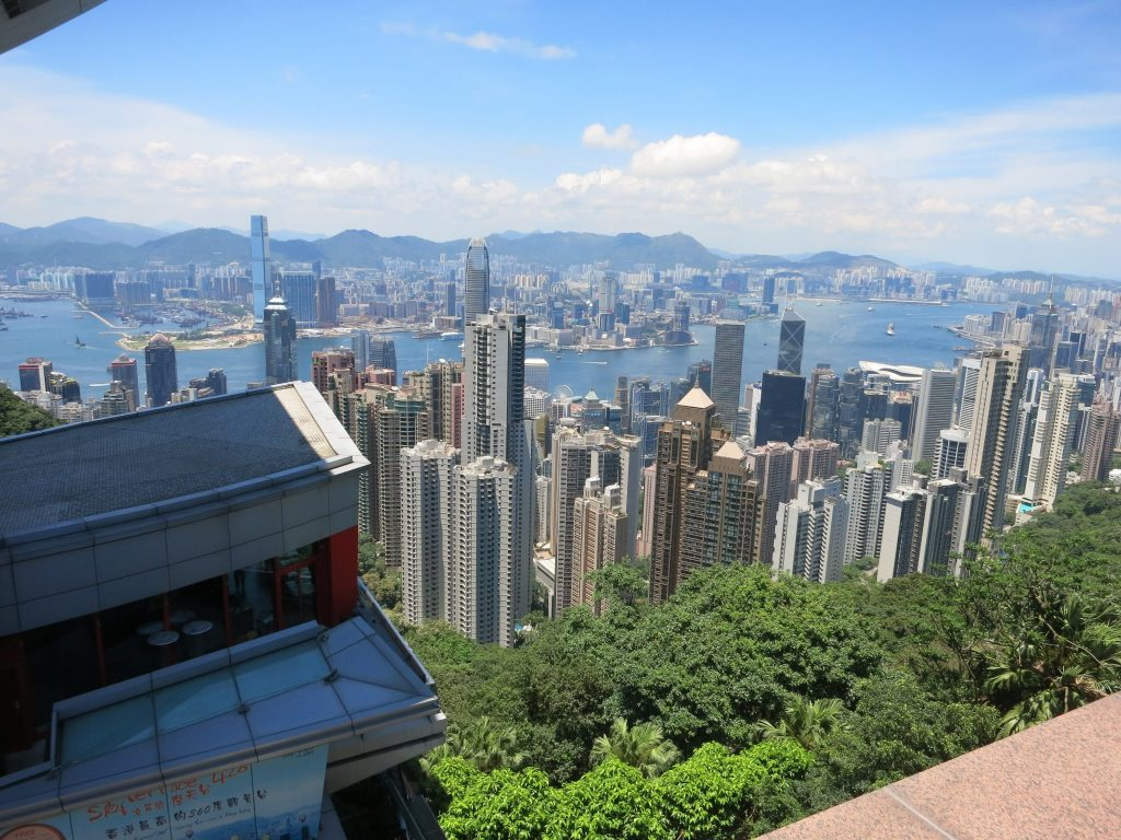 view of Hong Kong skyscrapers, taken from Peak Galleria on Victoria Peak