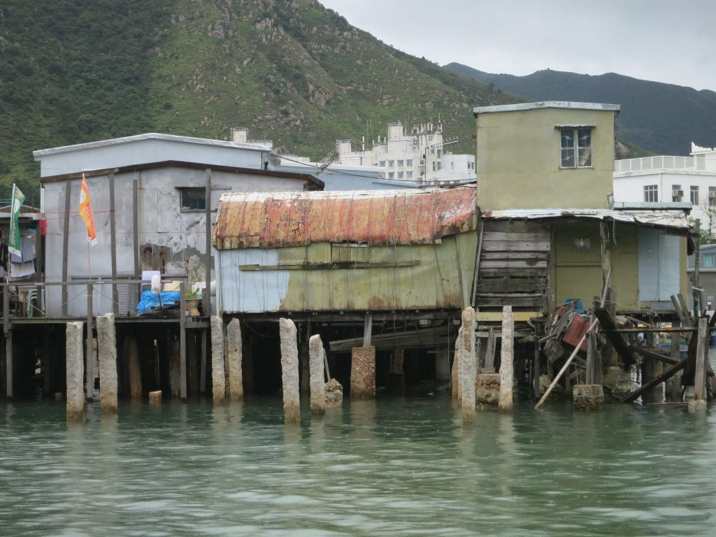 dilapidated-looking stilt houses in Tai O