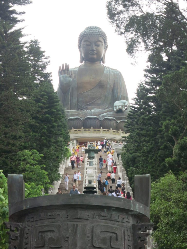 view up the stairs with the Big Buddha at the top