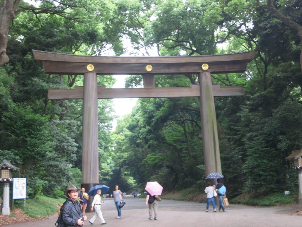 Enormous torii gateway in Meiji park in Tokyo