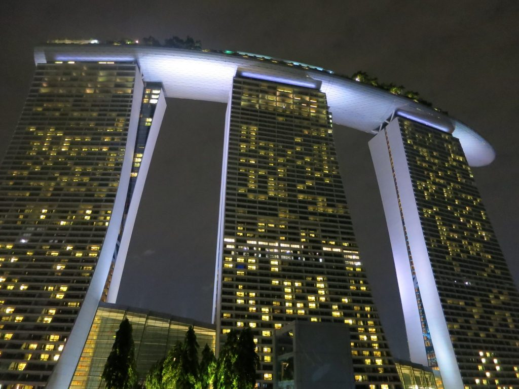 The Marina Bay Sands Hotel in Singapore, with its three futuristic towers topped by restaurants, bar and infinity pool.