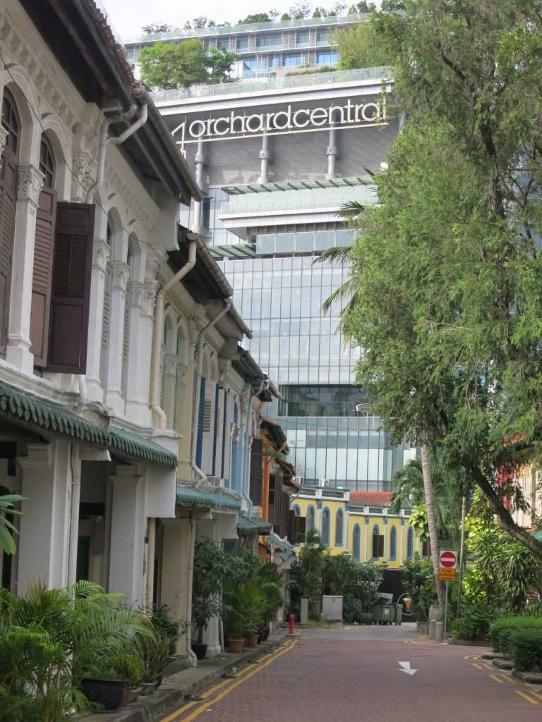 An Orchard Street mall looms over a row of colonial houses in Emerald Hill, Singapore.