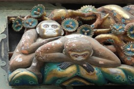another monkey carving in Tosho-gu Shrine in Nikko, Japan