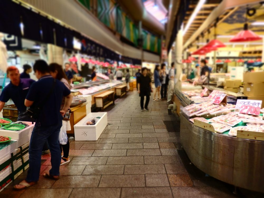 The seafood section of the market in Kanazawa