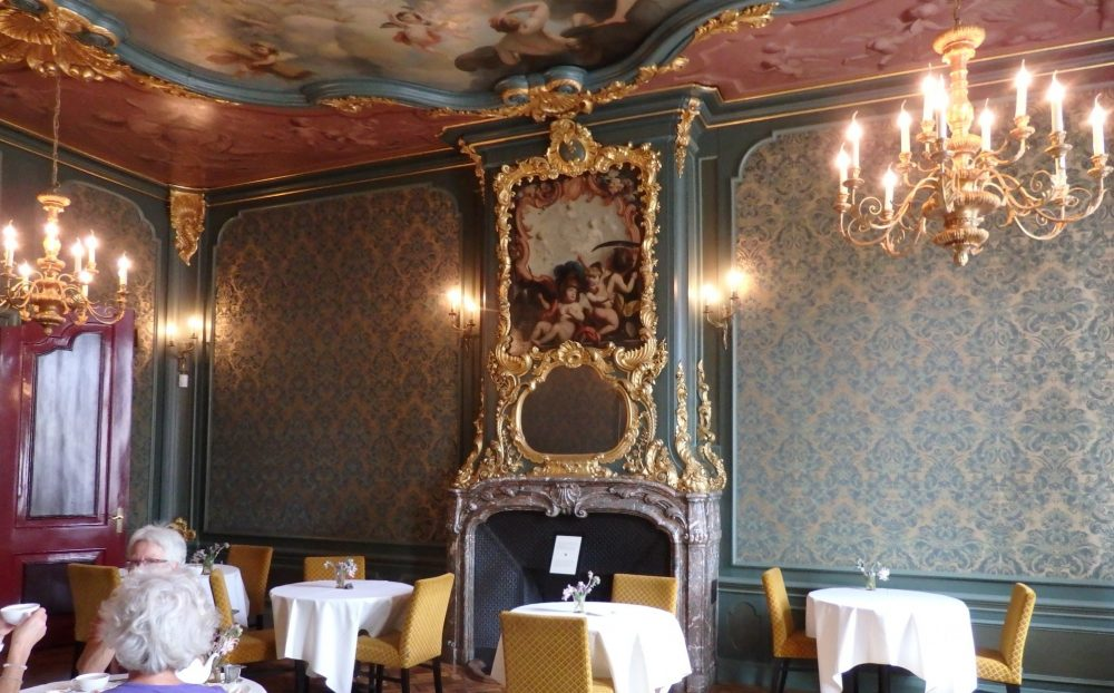 inside the rather grand cafe of the handbag museum in Amsterdam