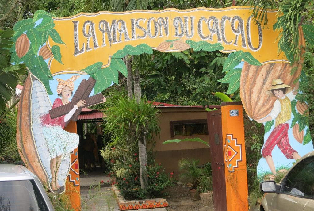 The entrance gate to La Maison de Cacao (Chocolate Museum in Guadeloupe)