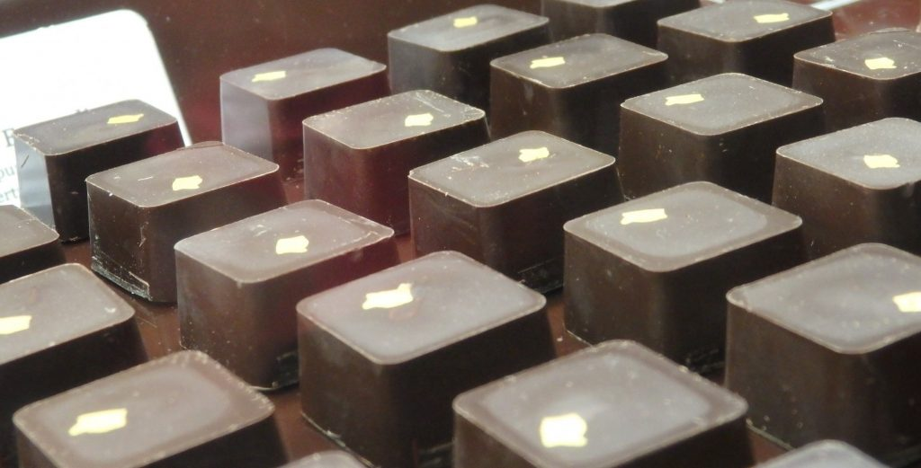 These chocolates for sale at the Valor factory shop appeared to be topped with a small piece of gold leaf.