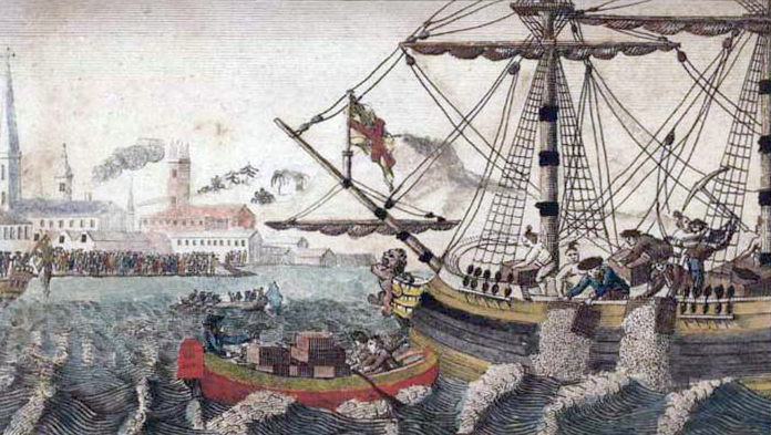 a lithograph of the Boston Tea Party