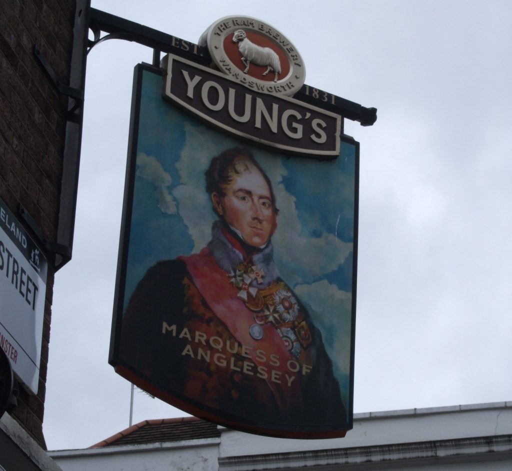 Sign for Youngs Marquess of Anglesey pub in London