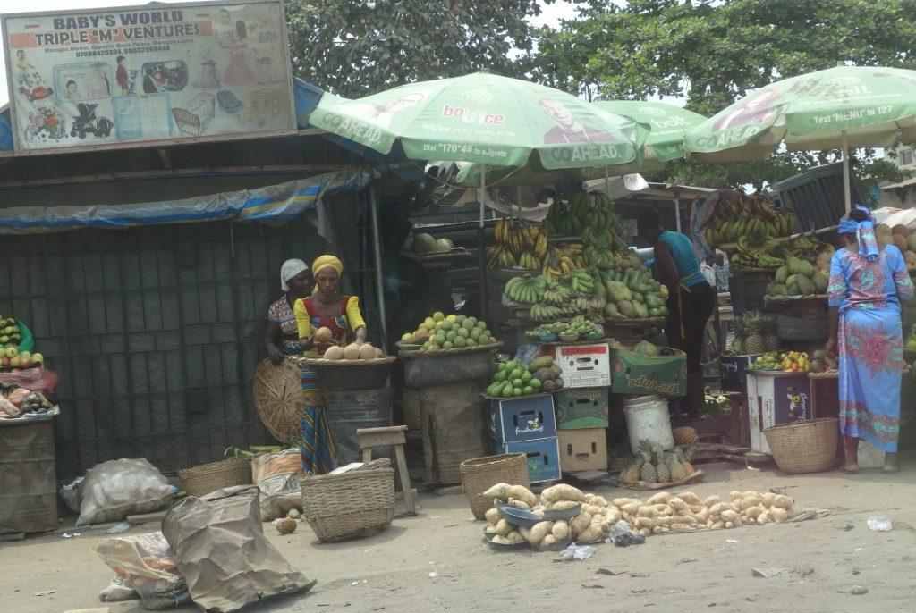 makeshift market stalls along the road in Lagos, Nigeria