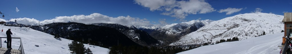 I took this panorama photo from the restaurant at the top of the first set of lifts at Baquiera Beret in the Val d'Aran