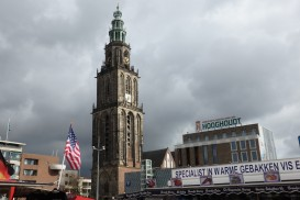 The Martinitoren rises above the clutter of market stalls on the Grote Markt in Groningen.