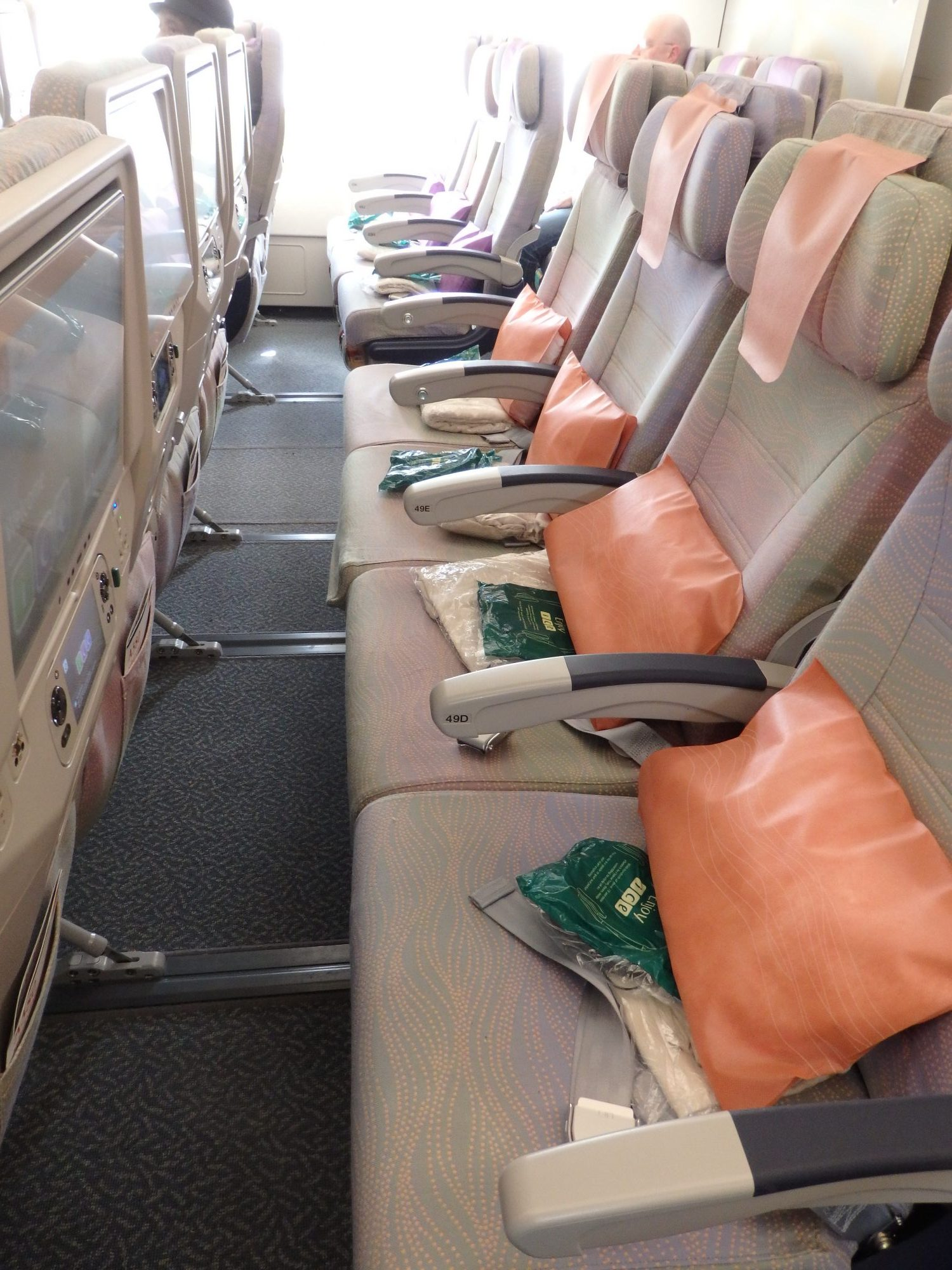 This gives an idea of the seat pitch on the Emirates A380.