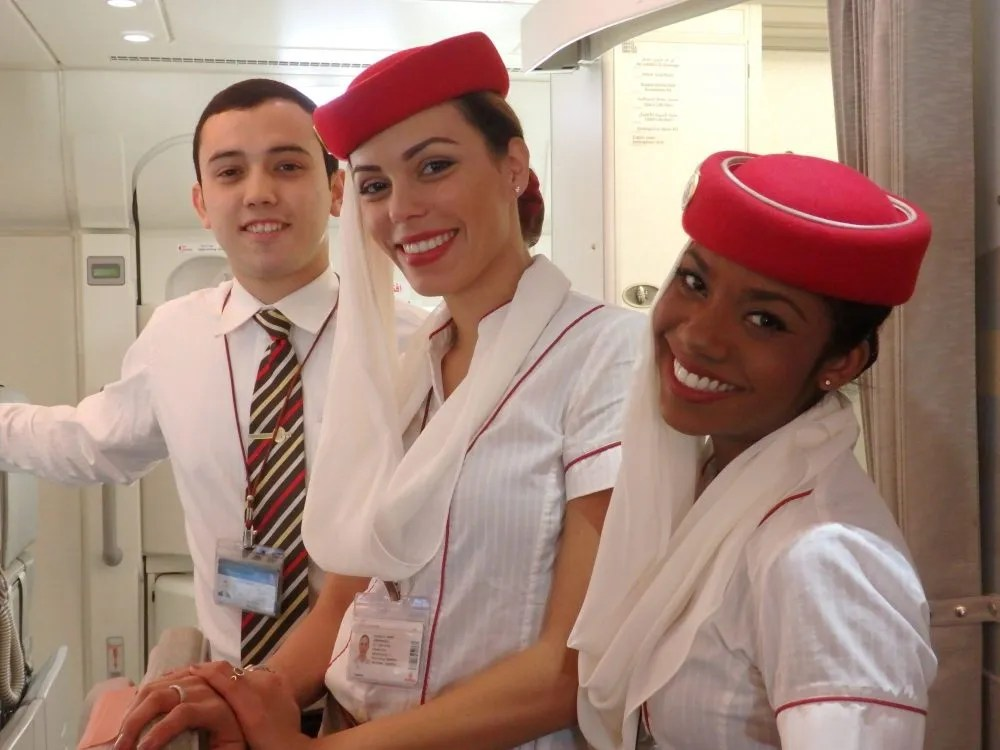 friendly flight attendants on Emirates A380