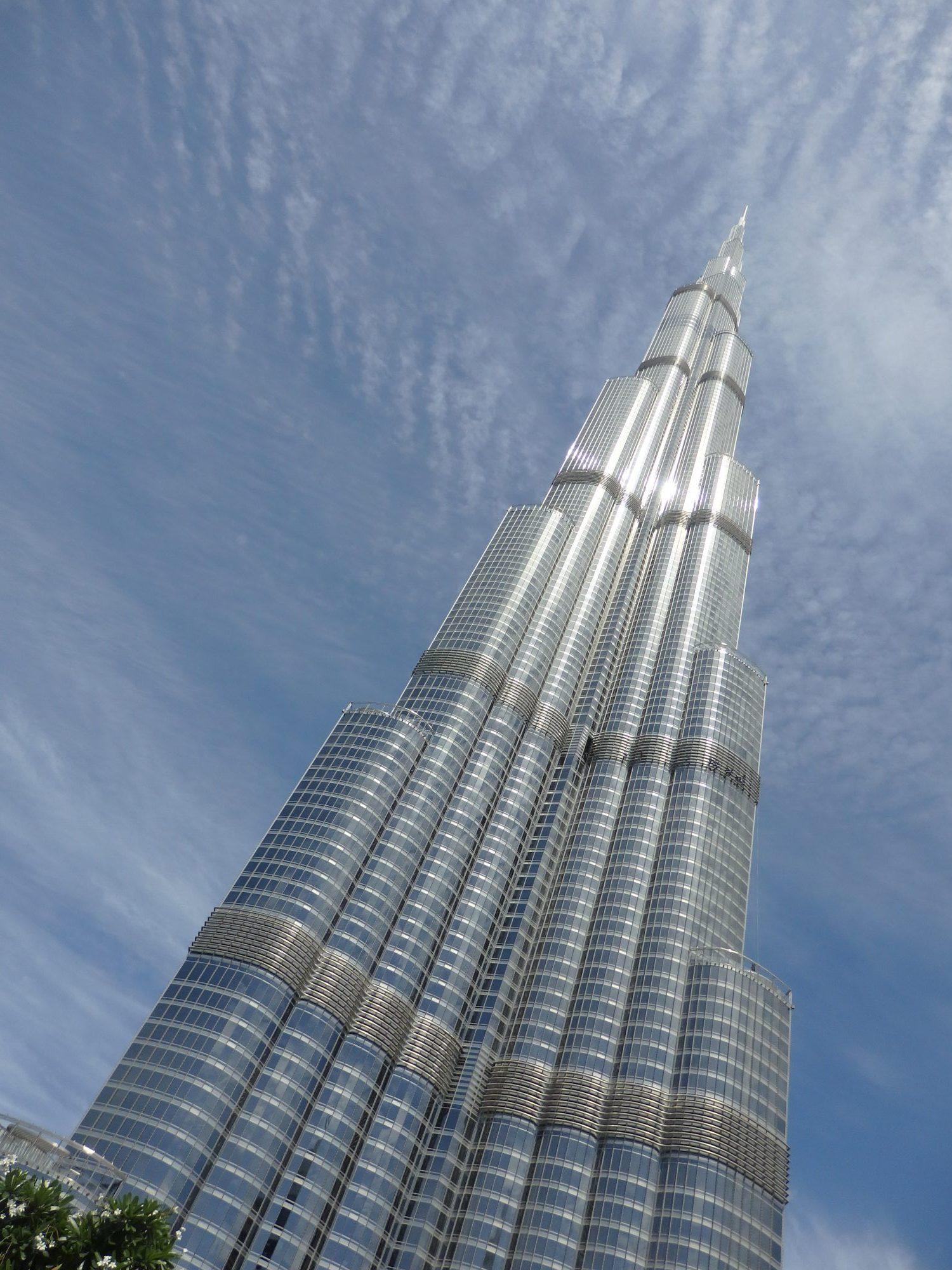 looking up at the Burj Khalifa in Dubai