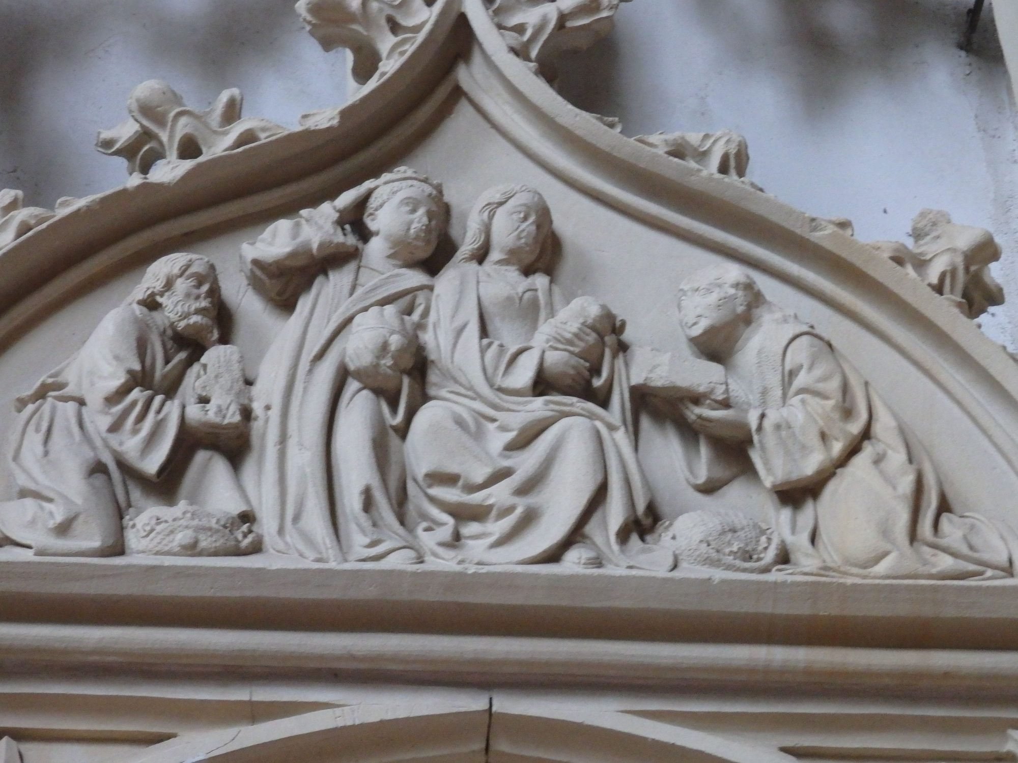 In this image of the adoration of the Magi, the head of the infant Jesus was cut off in the Reformation. Ter Apel, the Netherlands