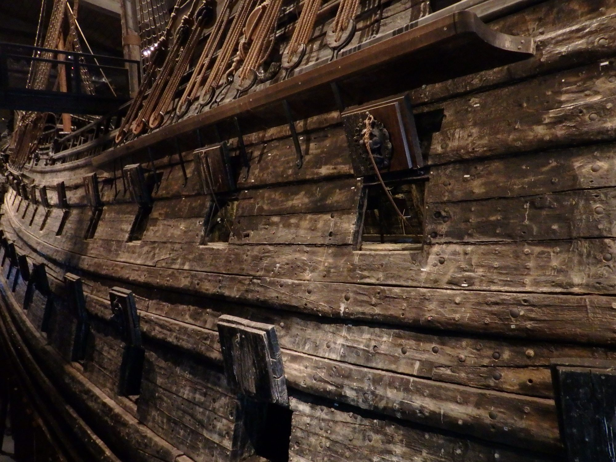 a view down the side of the Vasa showing both rows of gunports: Stockholm, Sweden