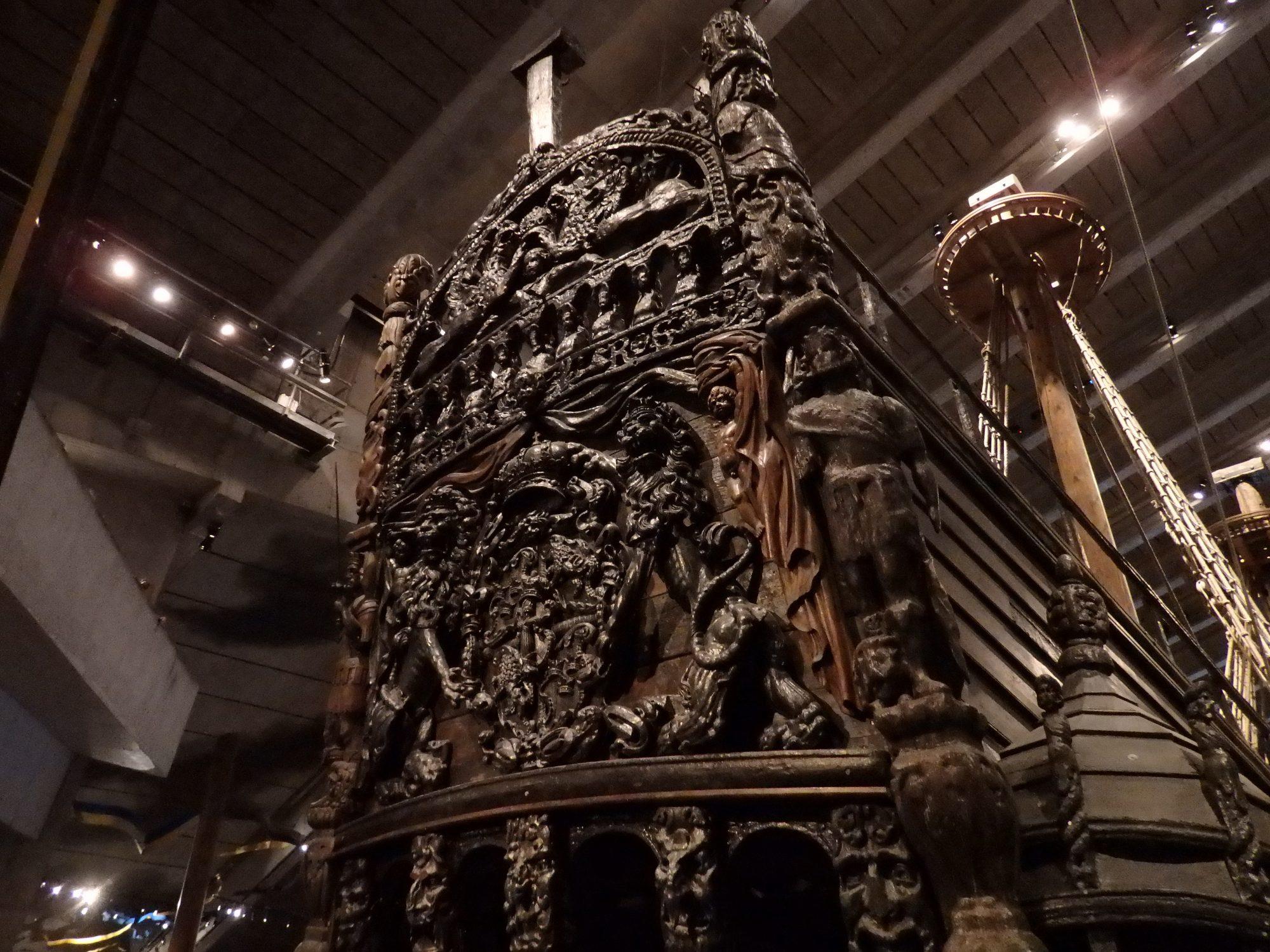 Upper part of the stern of the Vasa: Stockholm, Sweden