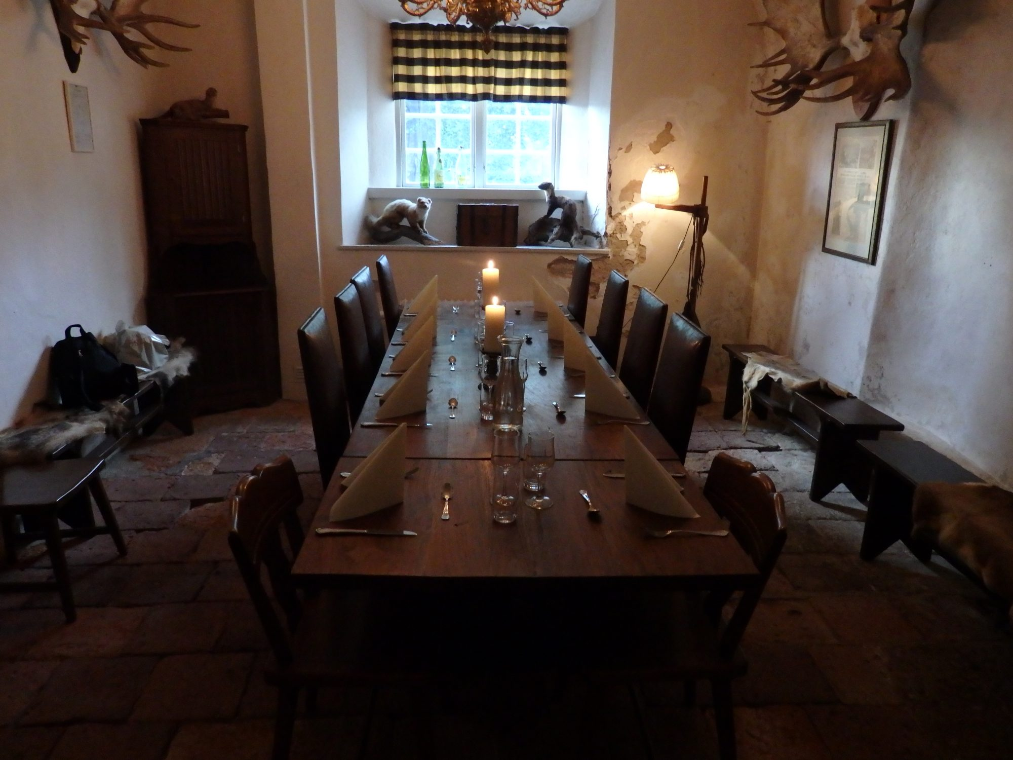 one of the rooms in the restaurant in Öster Malma. Notice the animal trophies.