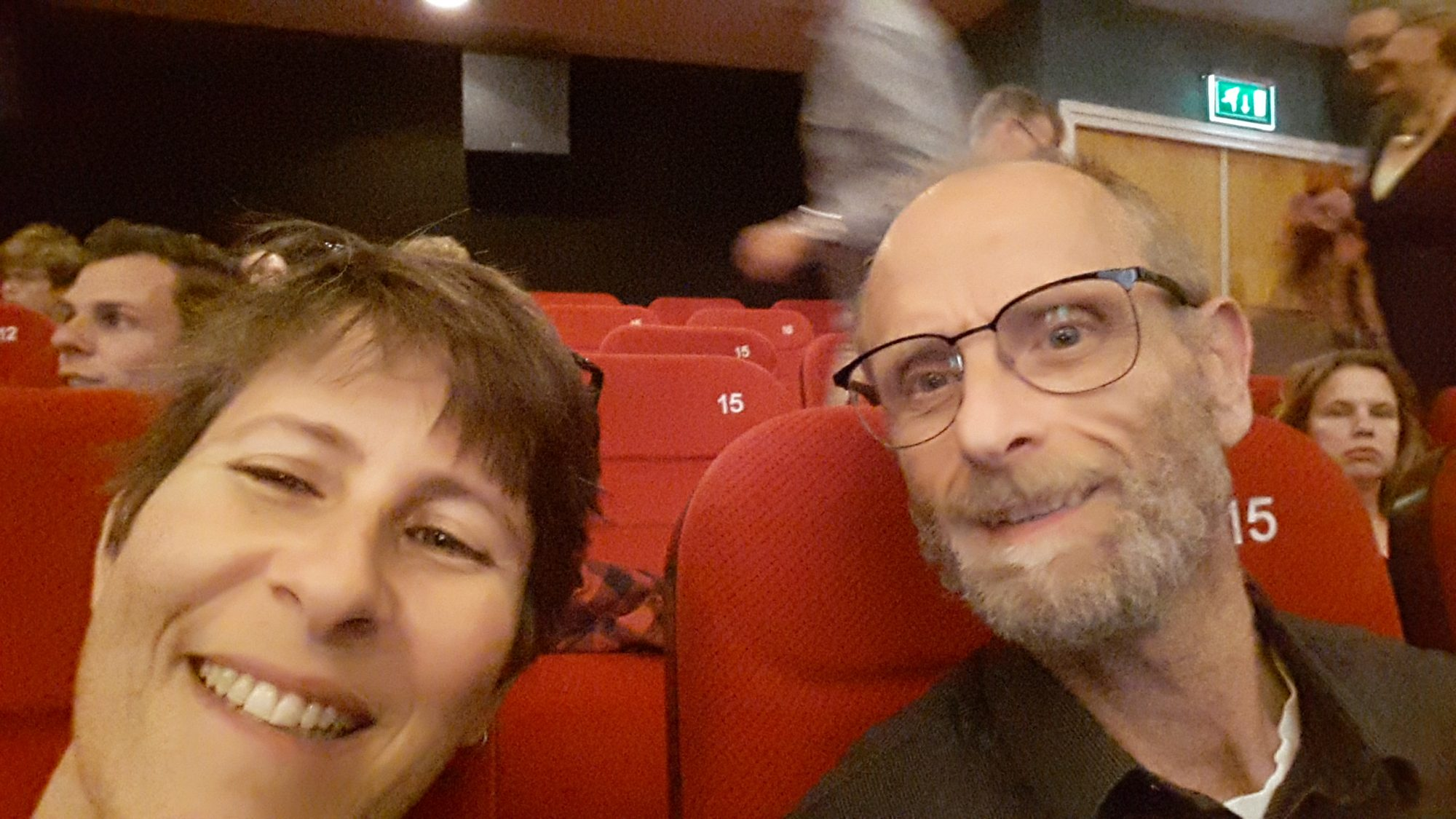 My husband and I, waiting for the film to begin.