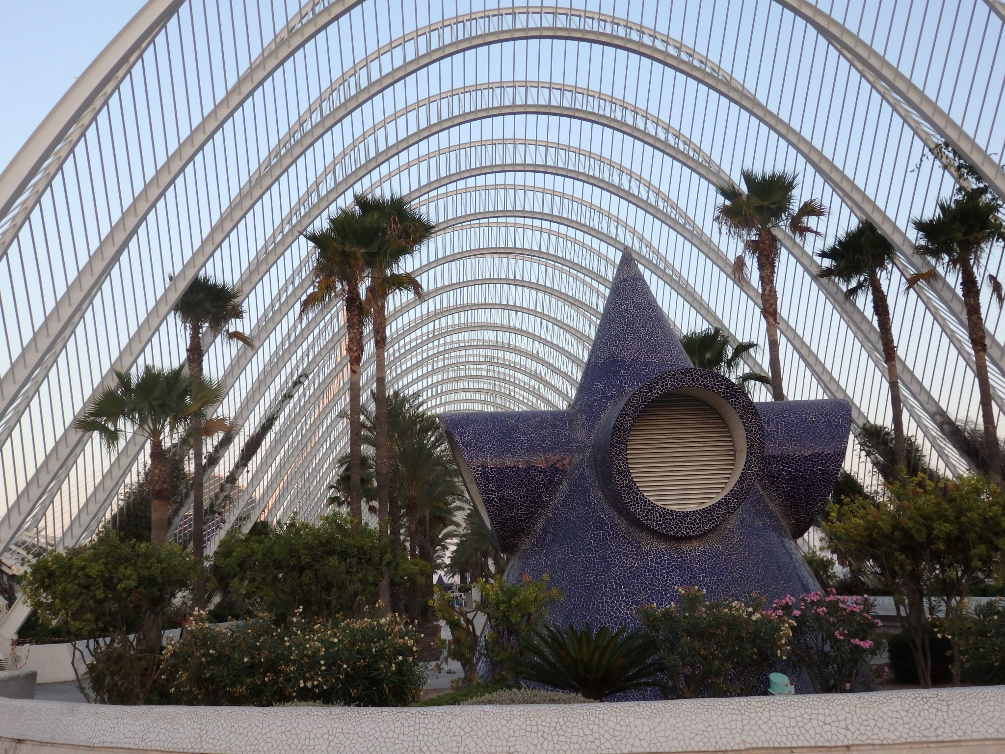 one end of the Umbracle at the City of Arts and Sciences in Valencia, Spain