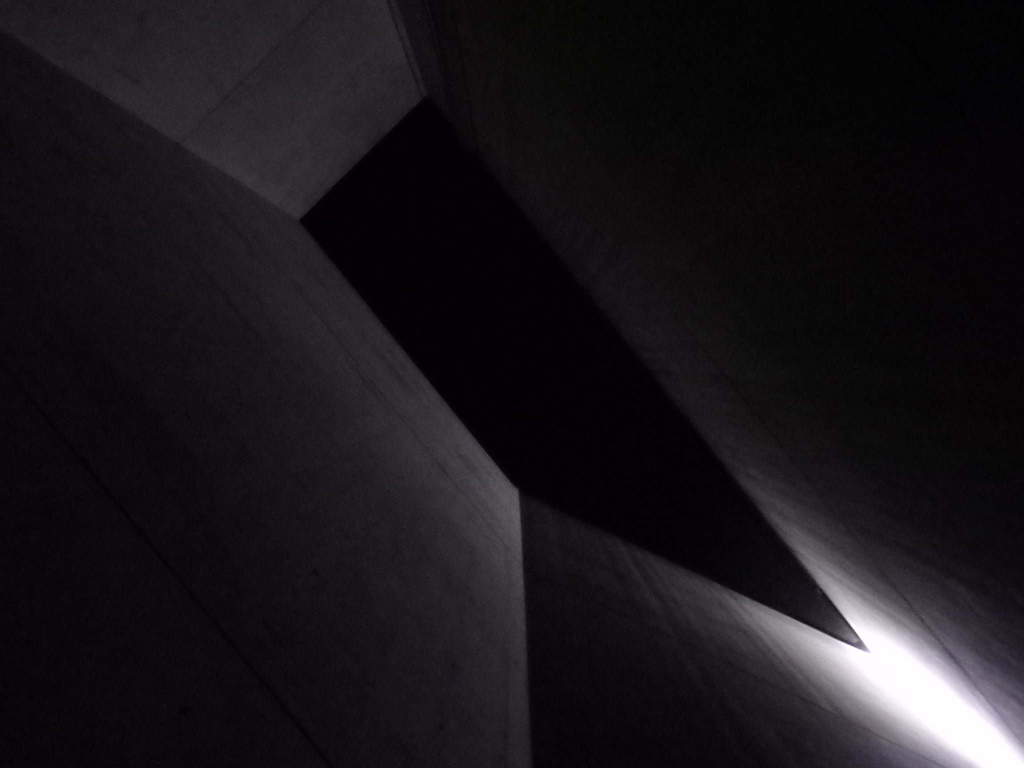 Looking straight up in the Holocaust Tower in the Jewish Museum Berlin