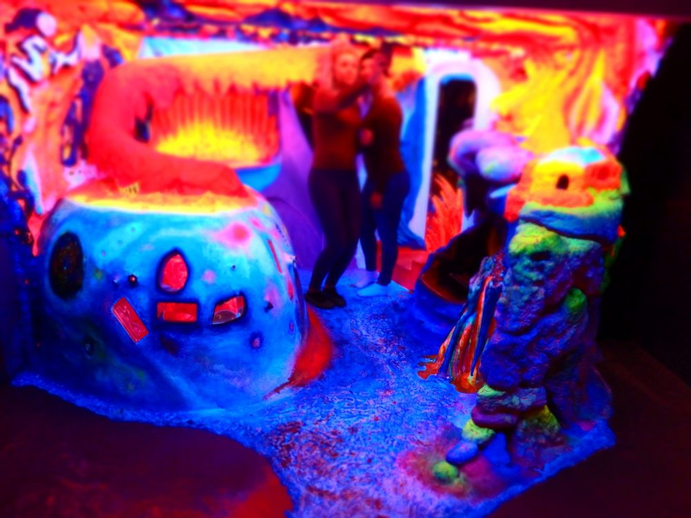 """Two girls taking a selfie in the """"environment"""" in Electric Ladyland Fluorescence Museum in Amsterdam"""
