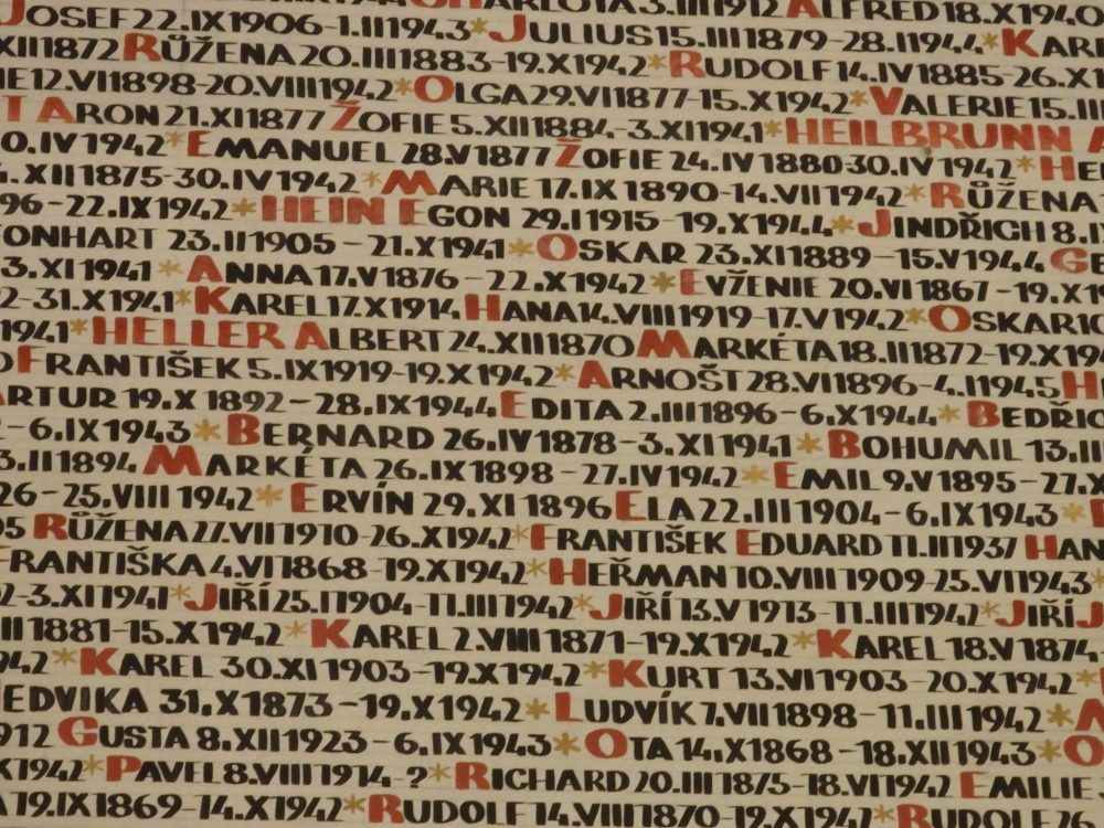 "The photo is a close-up of a small portion of a wall. Each family name is painted in red, while all the people with that name follow, with only the first letter in red and the rest in black. So, for example, it reads ""*HEIN EGON 29.I1915-19.X1944*"""