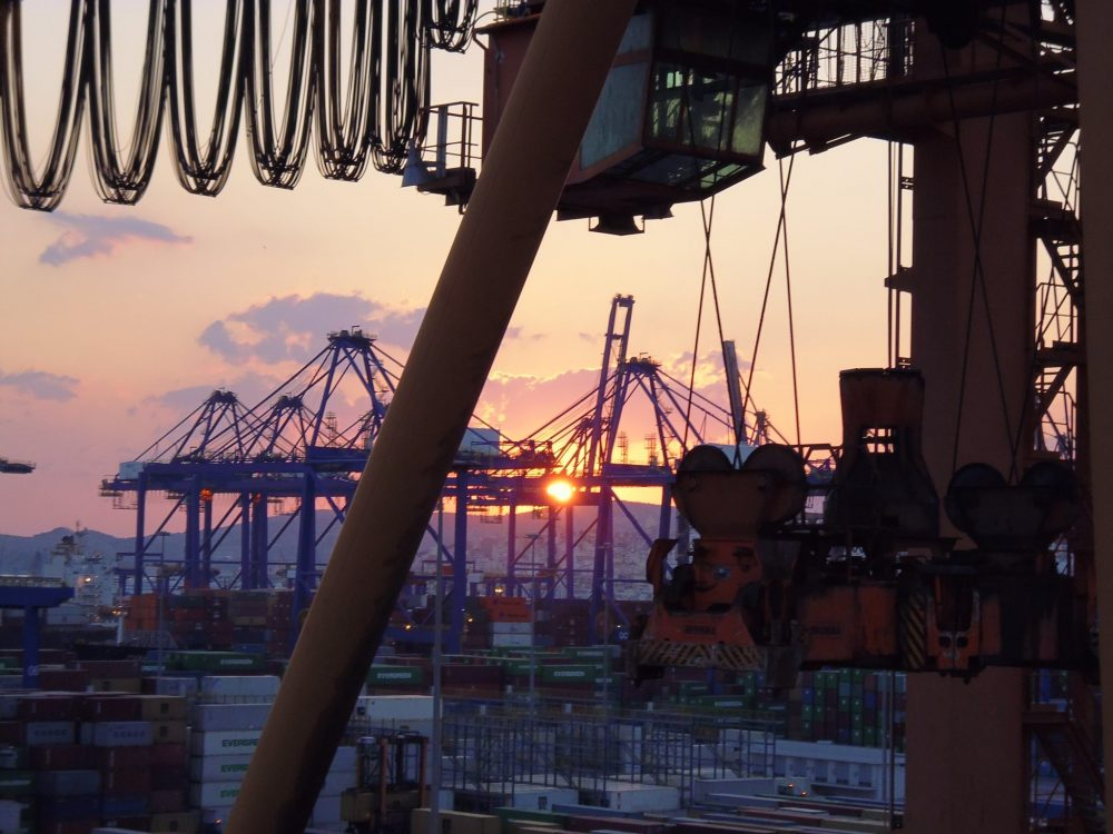 This is the kind of view you might get when your container ship is in port. This is Piraeus, Greece. Photo courtesy of Rebecca Hall.