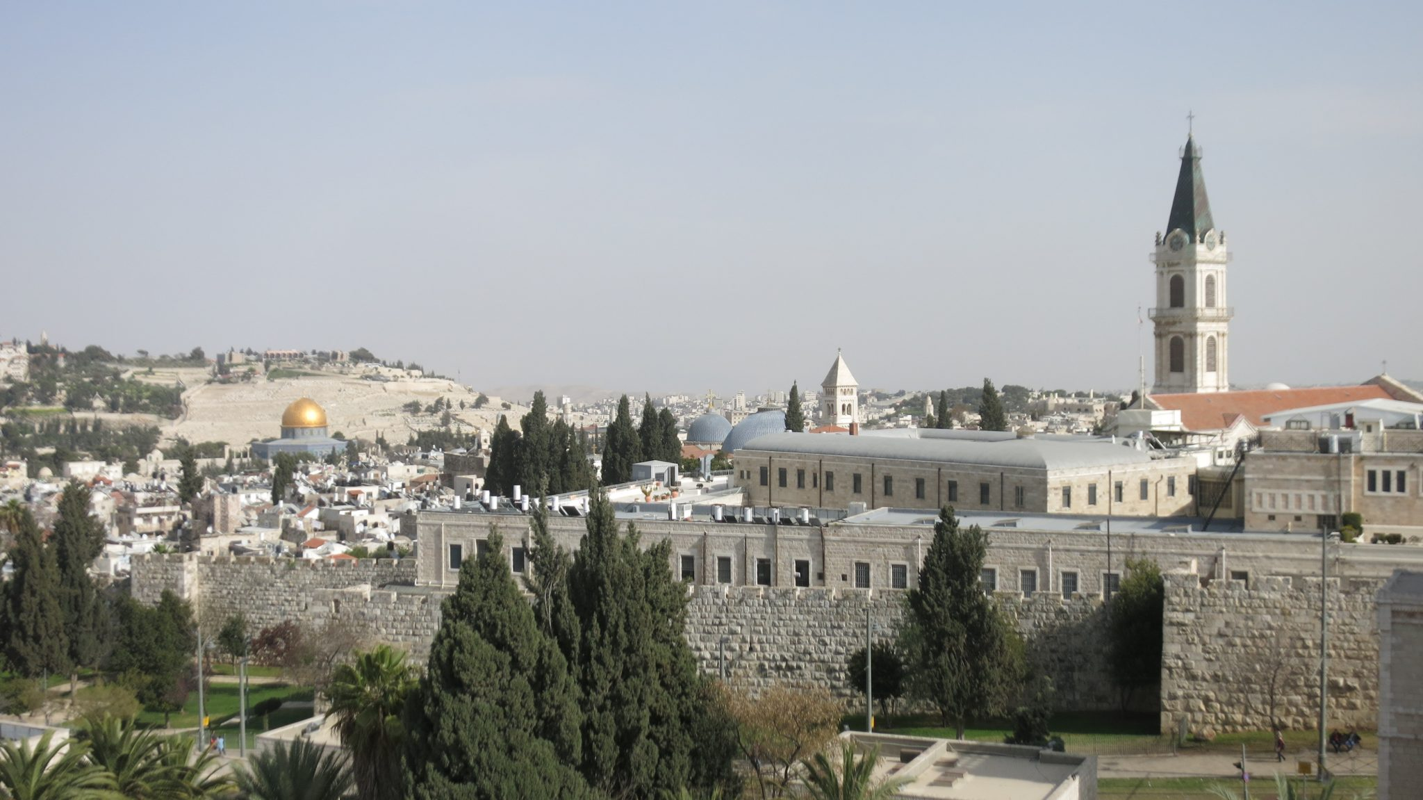 view into the Old City of Jerusalem from the roof of the Monastery of Notre Dame, one of the stops in my Bitemojo tour