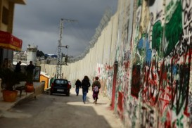 A section of the border wall, with the Banksy Hotel just out of the frame on the left. Visiting Bethlehem.