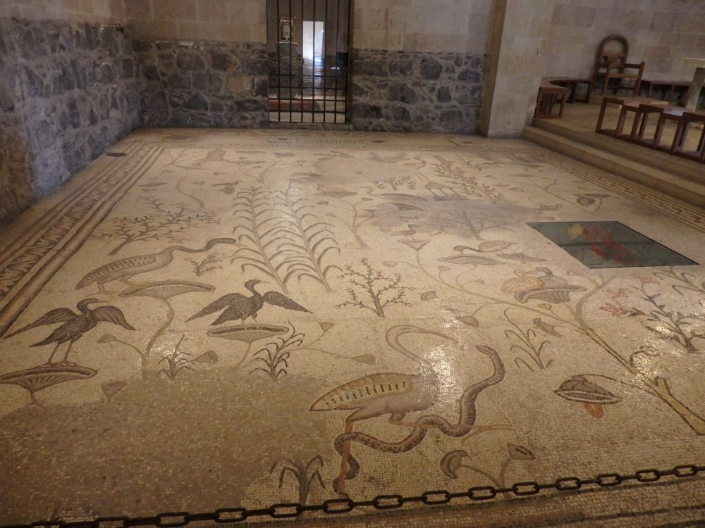 a richly decorative mosaic floor in the church at Tabgha