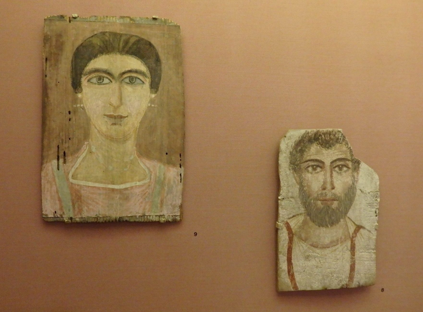 Early Christian-era mummy portraits painted on wood. The one on the right is from ca. 270-330 CE, while the left-hand portrait is from ca. 350 CE. Bible Lands Museum, Jerusalem, Israel