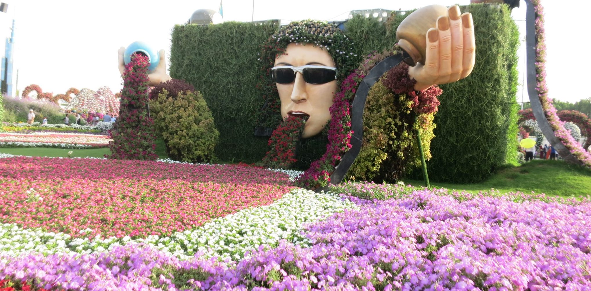 Floral display that looks like John Lennon throwing up at Dubai Miracle Garden.