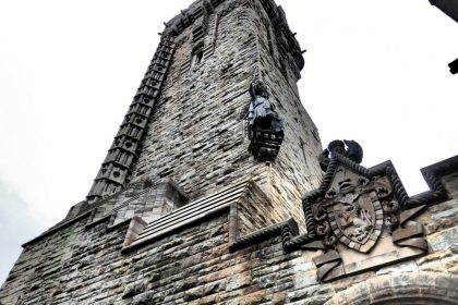 The Wallace memorial as seen from its base, complete with a statue of William Wallace.