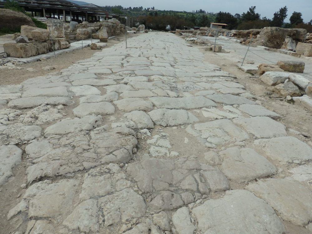 In this part of the stone-paved road in Zippori National Park, you can make out cart tracks carved into the limestone.