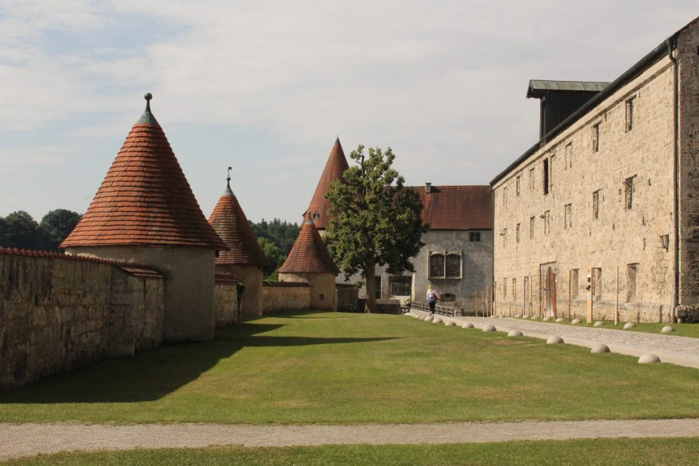 The third courtyard, with the armory on the right, at Burghausen Castle