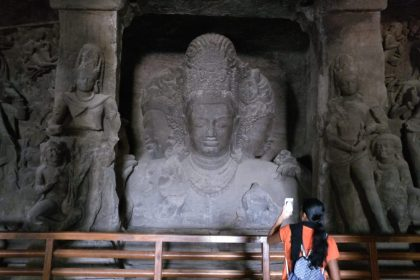 The three-headed Shiva in Cave 1