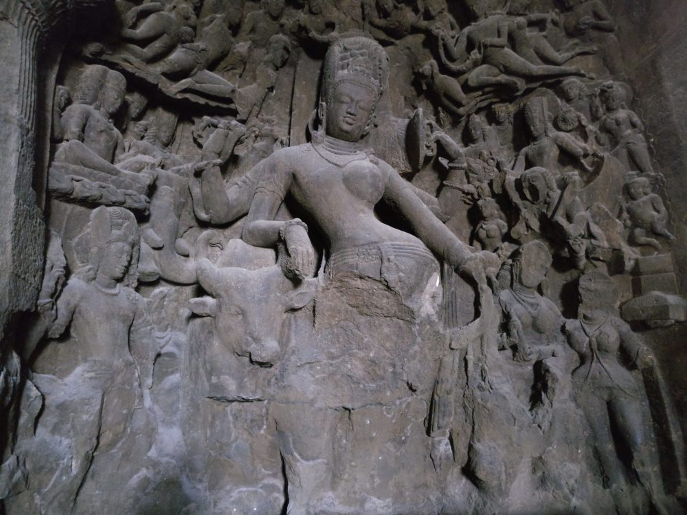 This bas-relief is to the left of the three-headed version of Shiva.