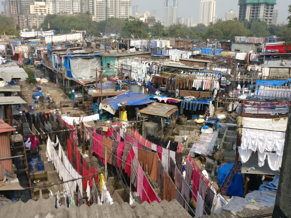 a view over a section of Dhobi Ghat, the massive outdoor laundry operation in Mumbai.