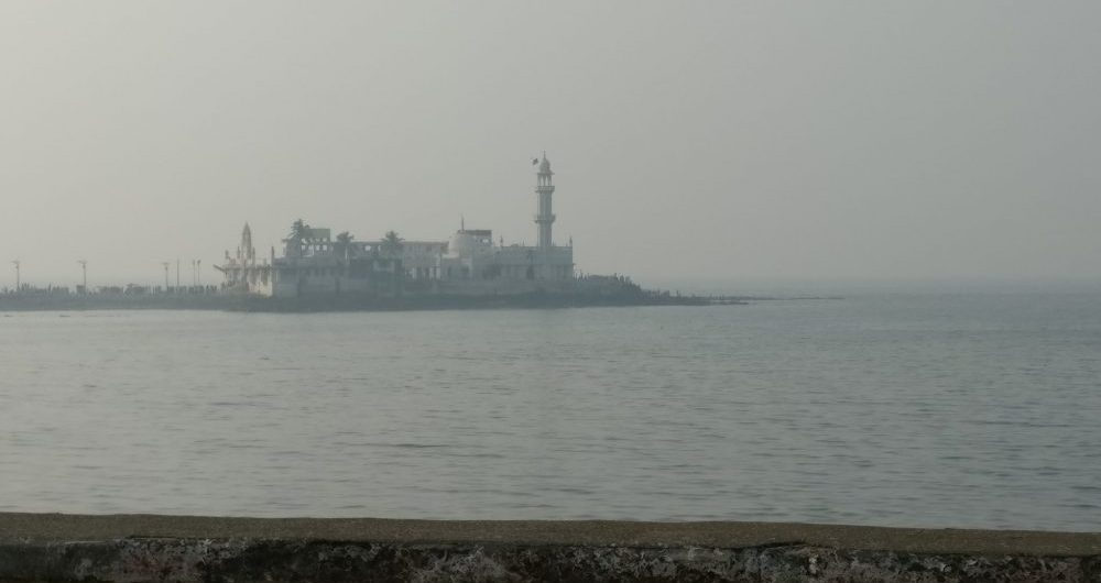 Haji Ali Dargah mosque, as seen from the Mumbai coastal road. It was extremely hazy with pollution when I visited.