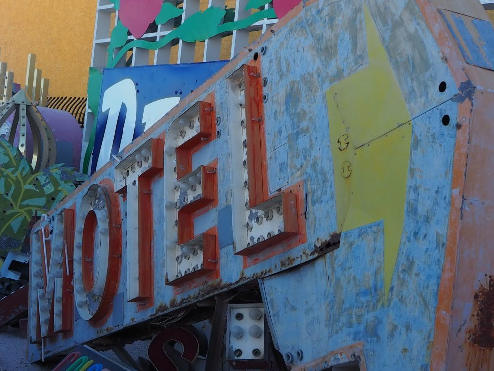 A motel sign that has seen better days, at the Neon Boneyard Las Vegas
