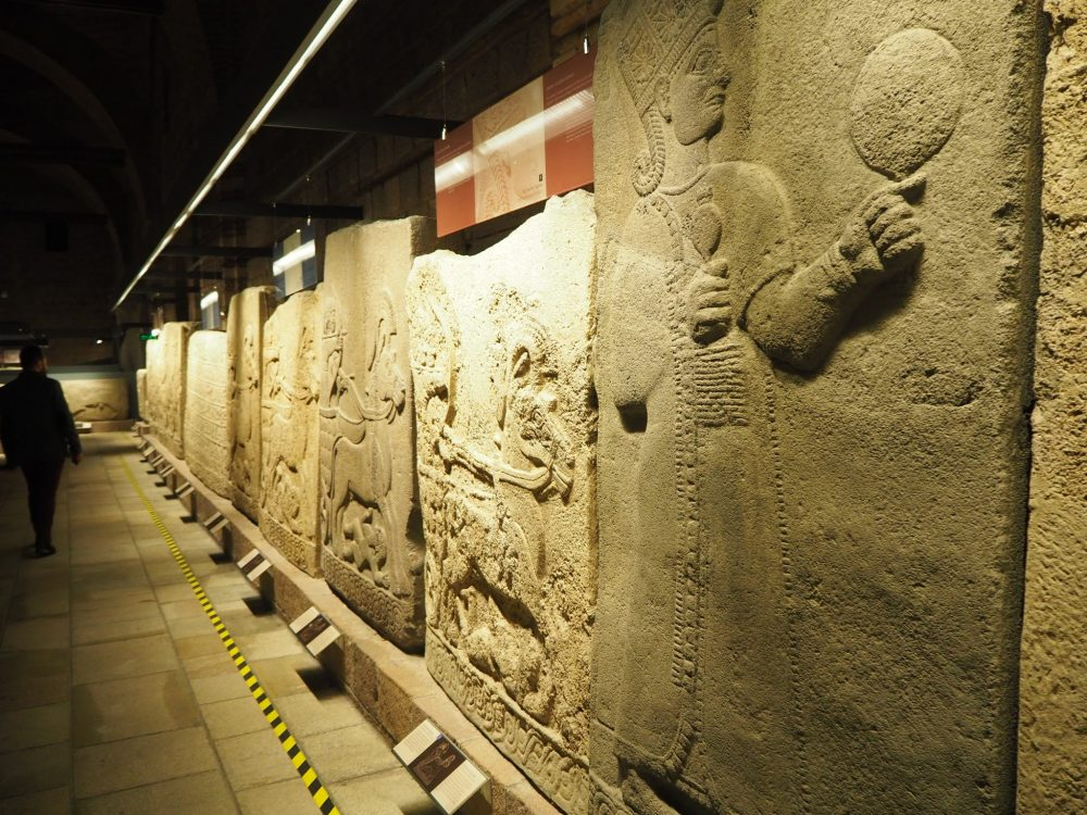 A row of orthostats in the Museum of Anatolian Civilizations: sightseeing in Ankara, Turkey