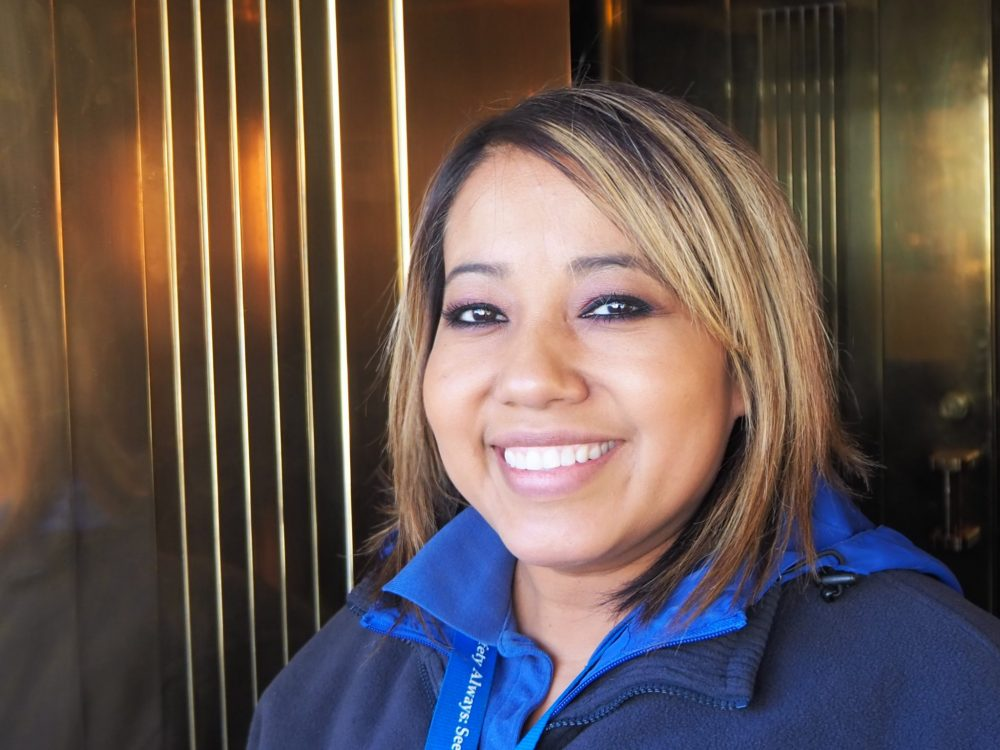 """Arcelia, our """"dam tour guide"""" on the Hoover Dam tour: big smile, straight brownish-blond hair, round face, brown eyes."""