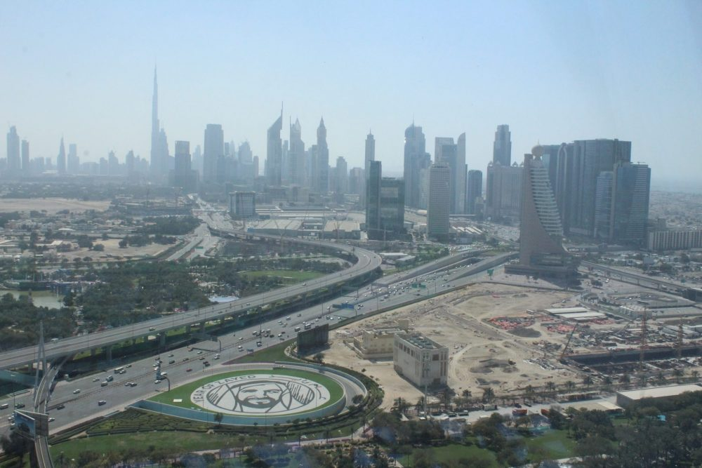 The view out toward the newer side of Dubai. The tallest building you can see in the distance is the Burj Khalifa. (photo courtesy of Albert Smith, my husband, who is indeed a better photographer than I am)