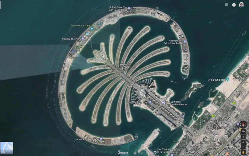 In case you're curious, here's Google map's view of Palm Dubai, a man-made development. The Atlantis The Palm hotel is at the opposite end from the mainland.