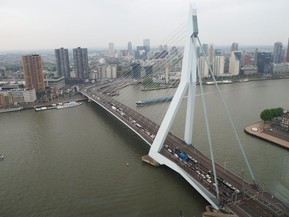 The Erasmus Bridge is a suspension bridge but with only one supporting structure. It is a tall grey structure, set off center on the bridge. On the shorter side of the bridge, just two beams extend from the top of the structure to the bridge on the shore. ON the longer side, a series of cables extend from the top of the structure to points along the bridge's sides. The city skyline is visible on the opposite bank and cars are crossing the bridge.