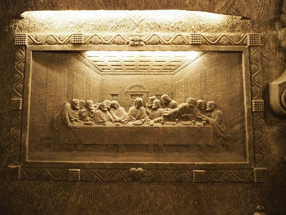 Da Vinci's Last Supper, copied in the rock salt wall of the St. Kinga Chapel in the Wieliczka salt mine.